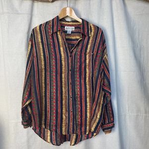 Vintage 80s 90s Whistles Oversized Silk Button Up